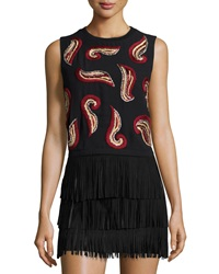 Alice Olivia Kara Paisley Embroidered Crop Top Black Red Gold