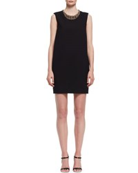 Lanvin Beaded Neck Sleeveless Shift Dress Black