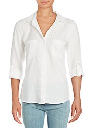 Saks Fifth Avenue High Low Roll Cuff Top White