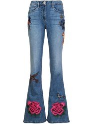 3X1 Embroidered Flared Jeans Blue