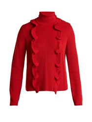 Red Valentino High Neck Cotton Sweater Red