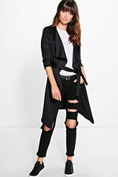 Boohoo Scuba Waterfall Belted Jacket Black
