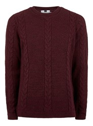 Topman Red Burgundy And Black Slim Fit Cable Knit Jumper