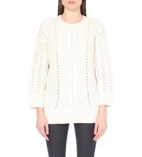 The Kooples Cable Knit Wool And Mohair Blend Jumper Off White