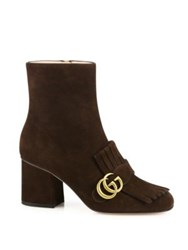Gucci Marmont Gg Suede Block Heel Booties Black Brown