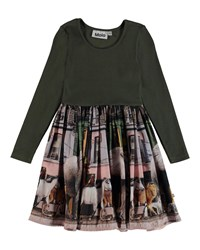 Molo Casie Ribbed And Animal Print Dress Size 3T 12 Green Pattern