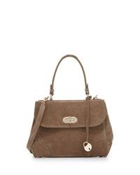 Ralph Lauren Tiffin 27 Suede Satchel Bag Taupe