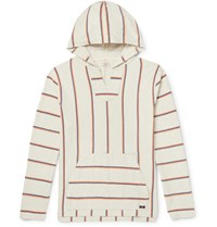 Faherty Baja Striped Cotton Hoodie Off White