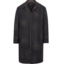 Lanvin Checked Wool Coat Army Green
