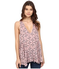 Free People Smocked Sides Tunic Pink Combo Women's Blouse