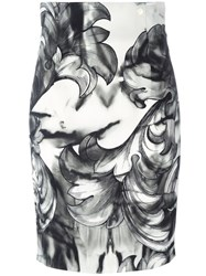 Versace Collection Printed Pencil Skirt Black