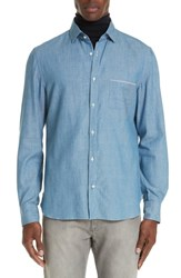 Eidos Napoli Trim Fit Solid Sport Shirt Denim
