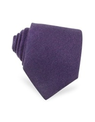 Forzieri Solid Purple Cashmere Extra Long Tie