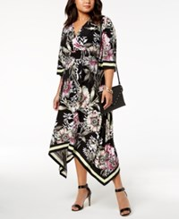 Inc International Concepts I.N.C. Plus Size Handkerchief Hem Midi Dress Created For Macy's Deep Black