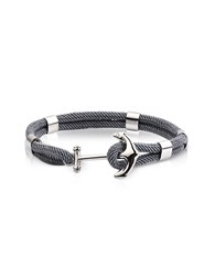 Forzieri Men's Bracelets Dark Gray Nautical Rope Double Bracelet W Anchor