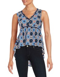 1.State Patterned Hi Lo Blouse Blue
