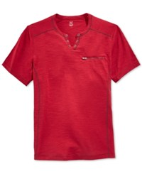 Inc International Concepts Dean Split Neck Heathered T Shirt Only At Macy's
