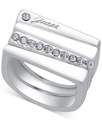 Guess Silver Tone 4 Pc. Set Crystal Stackable Squared Rings