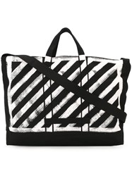 Off White Striped Tote Black