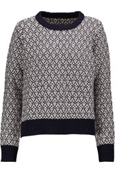 Maje Cotton And Wool Blend Jacquard Sweater Midnight Blue