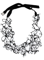 Maria Calderara Crystal Beads Tied Necklace Black