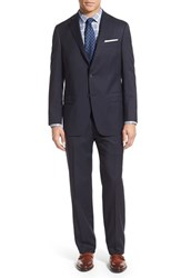 Men's Hart Schaffner Marx Classic Fit Stripe Wool Suit Navy