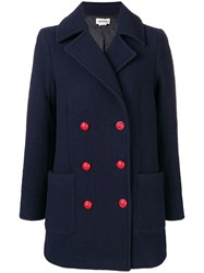 Zadig And Voltaire Milesim Double Breasted Coat Blue