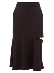 Tibi Anson Cut Out Hem Stretch Jersey Midi Skirt Black