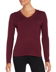 Lord And Taylor Merino Wool V Neck Sweater Raspberry Wine