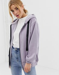 New Look Zip Front Oversize Hoodie Purple