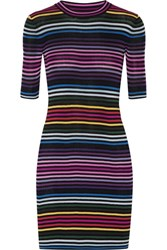 Marc Jacobs Striped Ribbed Cotton Mini Dress Black