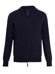 Allude Hooded Zip Through Cashmere Sweater Navy