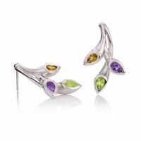 Manja Kazo Peridot Amethyst And Citrine Earrings Green Pink Purple