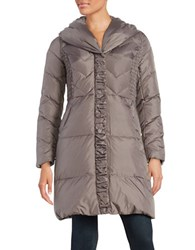 Via Spiga Pillow Collar Quilted Down Puffer Coat Brown