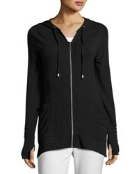 Neiman Marcus Slim Hooded Zip Sweatshirt Black