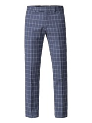 Aston And Gunn Adams Blue Check Trouser Blue