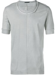 The Viridi Anne The Viridi Anne T Shirt With Lambskin Hem Grey