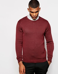 United Colors Of Benetton 100 Cotton Crew Neck Knitted Jumper Burgundy20v