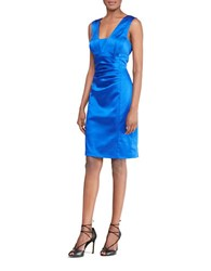 Lauren Ralph Lauren Sleeveless Stretch Satin Sheath Dress Blue