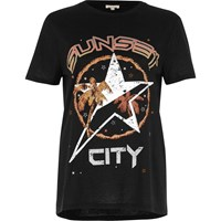River Island Womens Black Sunset City Fitted T Shirt