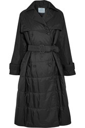 Prada Oversized Double Breasted Quilted Shell Coat Black