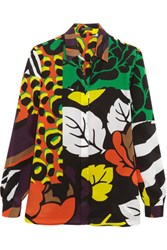 Versace Printed Silk Crepe De Chine Shirt Lime Green