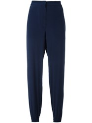 Cedric Charlier Elasticated Cuffs Cropped Trousers Blue