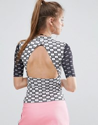 Illustrated People Open Back Top Black White