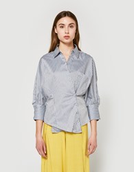 Farrow Striped Overlap Shirt Blue White