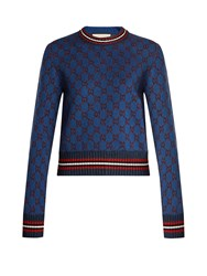Gucci Gg Jacquard Knit Cropped Sweater Navy Multi