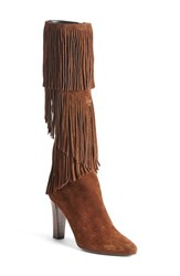 Women's Saint Laurent 'Lily' Fringe Tall Boot 3 3 4' Heel