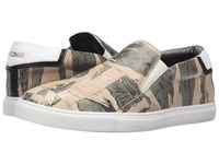 Just Cavalli Camowork Printed Calf Leather Slip On Nut Variant Men's Shoes Beige