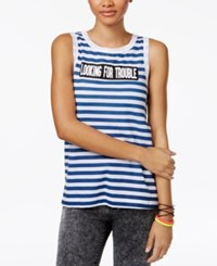 Mighty Fine Juniors' Trouble Striped Graphic Tank Top Blue White