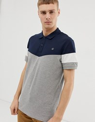 Jack And Jones Originals Polo With Blocked Colour Panels In Navy Grey